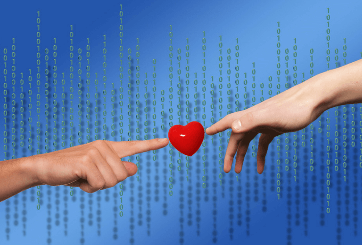 hands, fingers, binary code, love heart